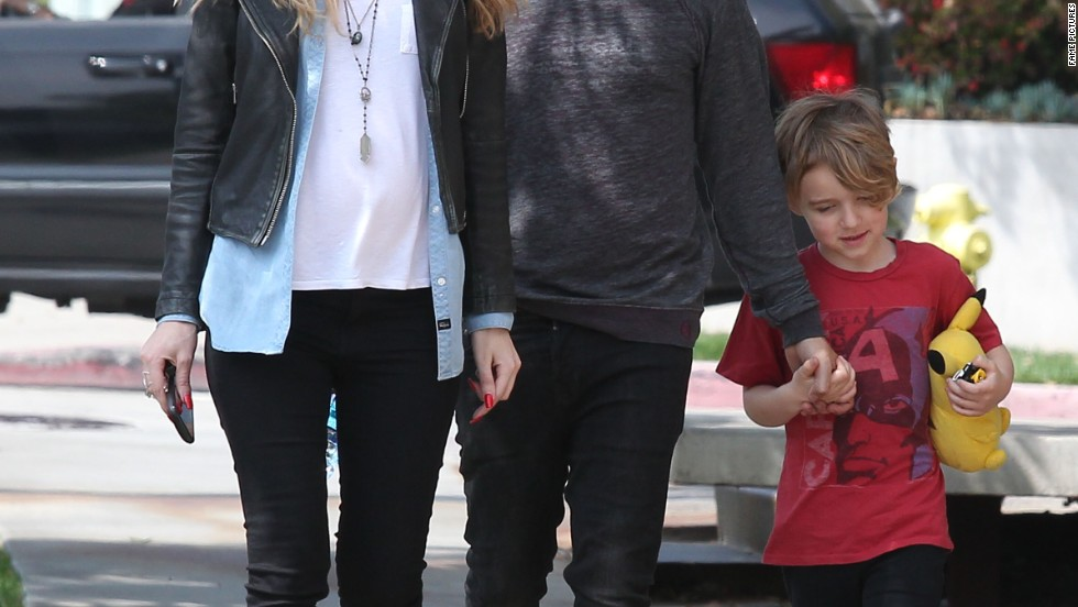 Pete Wentz, his girlfriend Meagan Camper and his son Bronx go shopping for baby on March 24.