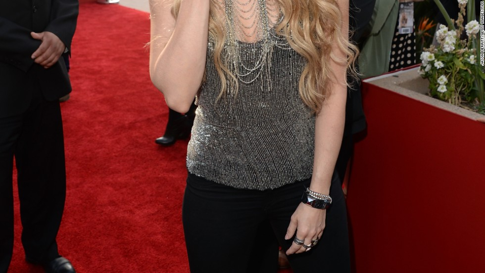 Shakira sends her love to fans at her iHeartRadio album release party on March 24.