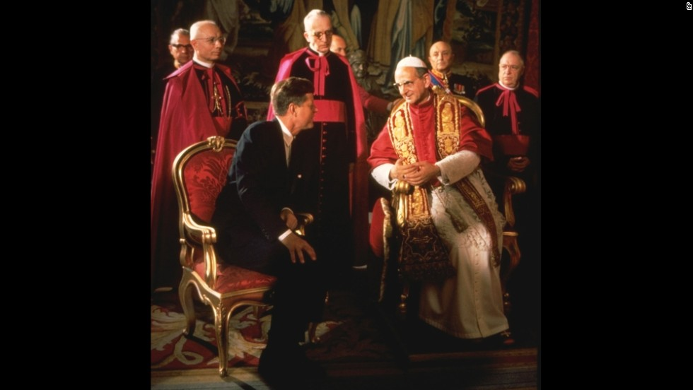 President John F. Kennedy talks with Pope Paul VI at the Vatican in 1963. Kennedy, who was the first and only Catholic president, met with the Pontiff shortly after his coronation.