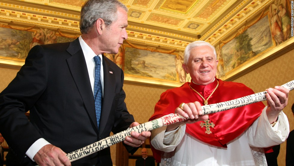 During a trip to the Vatican in 2007, President George W. Bush gives Pope Benedict XVI a walking stick inscribed with the Ten Commandments that was made by a formerly homeless man in Texas. Bush met with popes a record six times while he was in office.