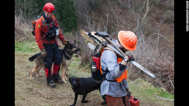 Search and rescue workers use dogs to search for survivors on March 25.