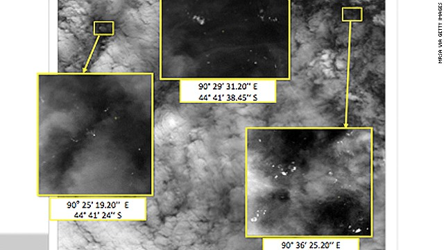 See satellite images of objects in ocean