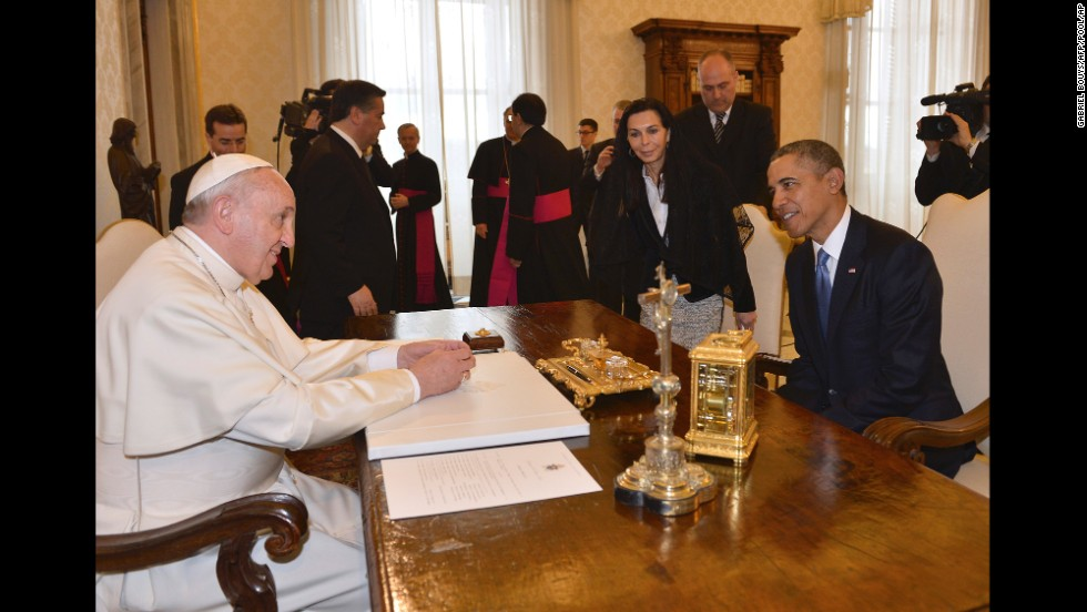 President Obama meets Pope Francis at the Vatican on March 27.