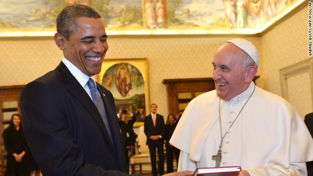 President Barack Obama and Pope Francis exchange gifts at the Vatican in Rome on Thursday, March 27.