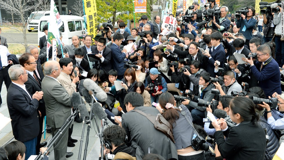 "Hideko Hakamada speaks to reporters on March 27 in Shizuoka. She told the crowd, ""Thank you very much. I am very pleased. I am very thankful with everyone's support,"" according to the NHK footage."