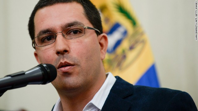 Venezuelan Vice-President Jorge Arreaza speaks during a press conference in Caracas on April 12, 2013 ahead of Sunday's presidential election. Arreaza referred to the arrest of alleged Colombian paramilitaries who according to acting President Nicolas Maduro had entered the country 'to kill'. In the closing rally of his campaign Maduro added that a plan to generate violence ahead of the election was being dismantled. AFP PHOTO/JUAN BARRETO (Photo credit should read JUAN BARRETO/AFP/Getty Images)