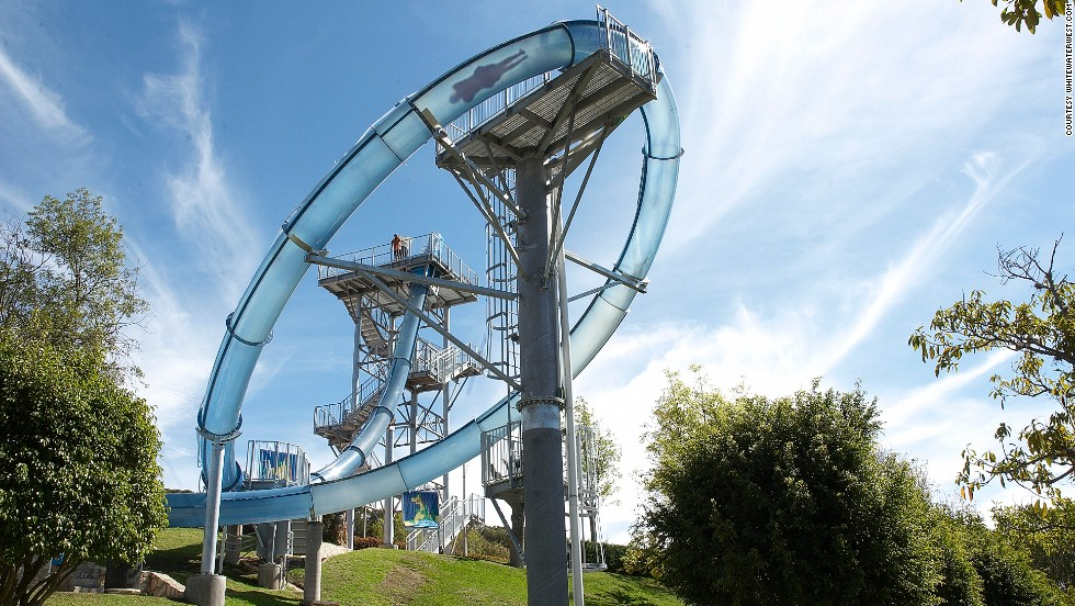 On the big attraction at Ixtapan Parque Acuatico, the drop that follows a fall through a trapdoor propels riders to 60 kilometers an hour -- fast enough to make it around an almost-vertical loop.