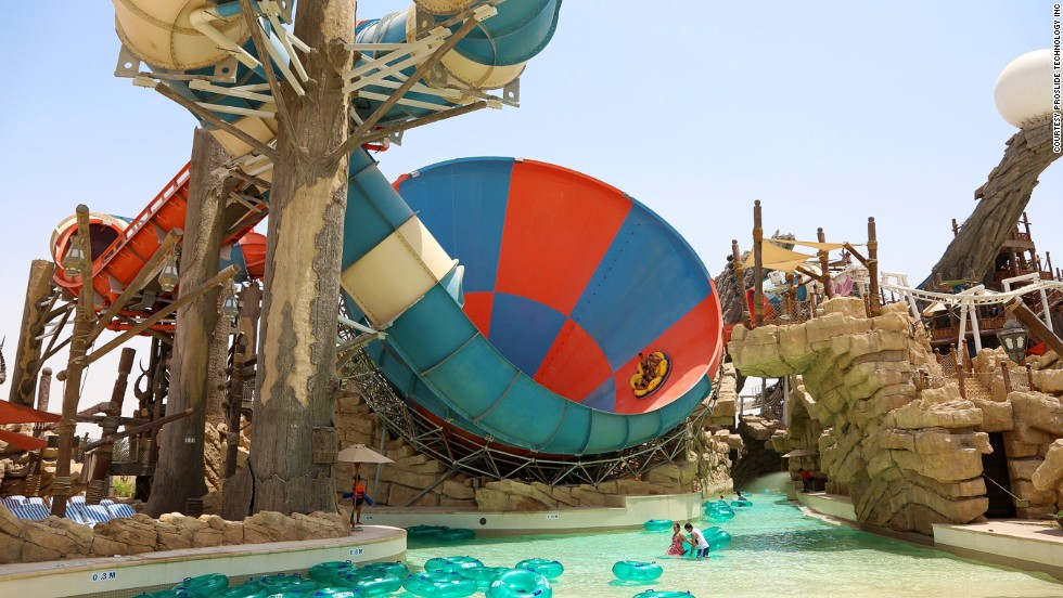 """It's unique because it combines two iconic water rides,"" says Ruth McMahon at ProSlide Technology Inc. ""After the first section, passengers get dropped into the world's first six-person funnel ride."" The ride is part of Yas Waterworld in Abu Dhabi."