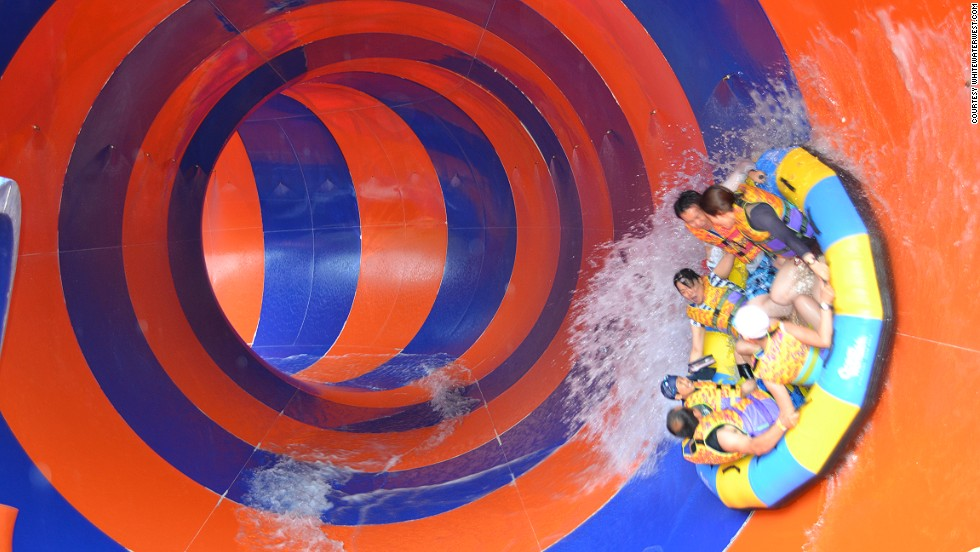 At Daemyung Resort in South Korea, Python is one of the world's scariest water slides, thanks to several banked twists and turns, unbelievably tight corners and a 6-meter-wide enclosed section that sends riders flying up the sides.