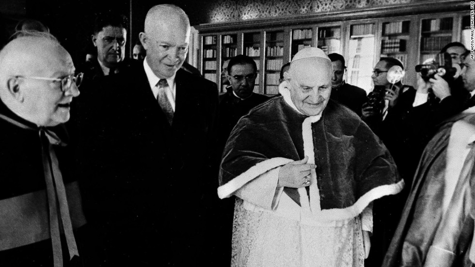 President Dwight D. Eisenhower and Pope John XXIII are shown during a private audience at the Vatican, Dec. 6, 1959.