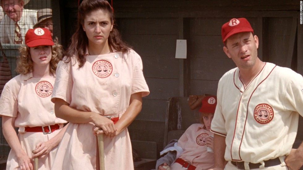 "Tom Hanks, right, plays the coach of a team in the women's professional baseball league in the 1992 film ""A League of Their Own."""