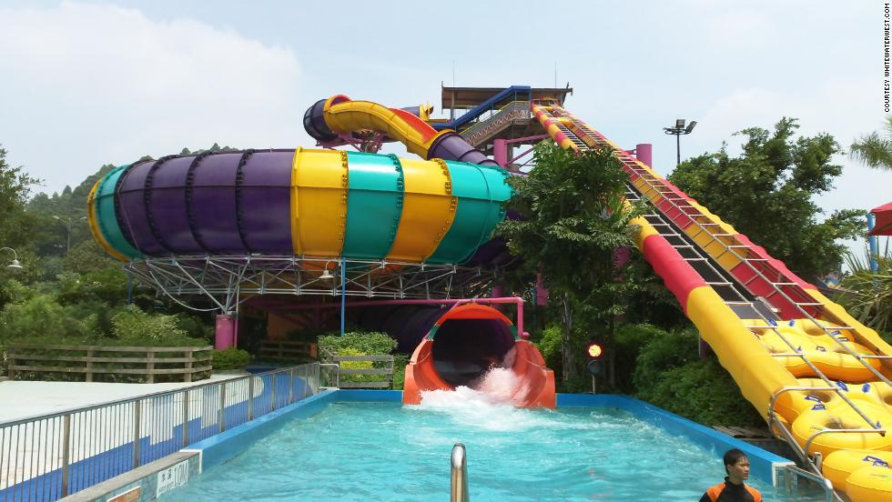 """This is the largest bowl water ride in the world with a massive 18-meter diameter,"" says Ruth McMahon at theme park designers ProSlide Technology Inc. ""The size and shape allows passengers to speed around the perimeter and make multiple revolutions with maximum centrifugal force."" The ride is part of Guangzhou's Chimelong Water Park in China."