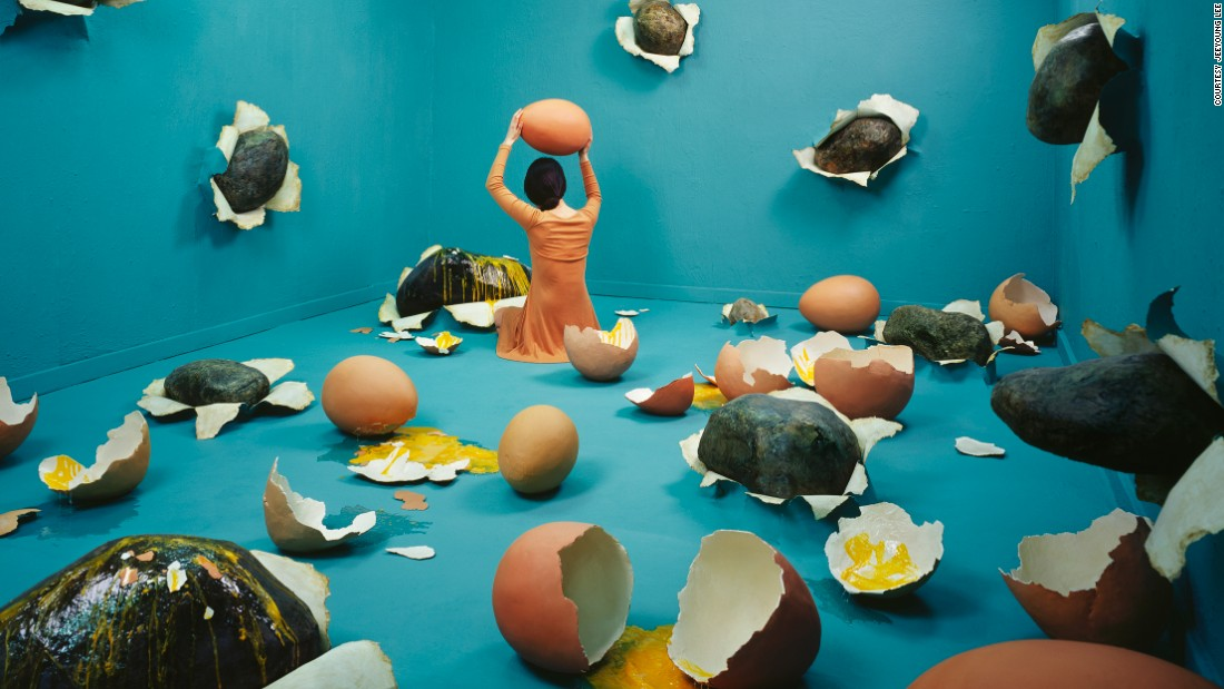"Korean proverb ""to hit a rock with an egg"" served as the basis behind this image depicting Lee's heartache: ""Eggs are so fragile and easy to break, so I felt they would be a poignant contrast to the firmness of the rocks,"" she says."