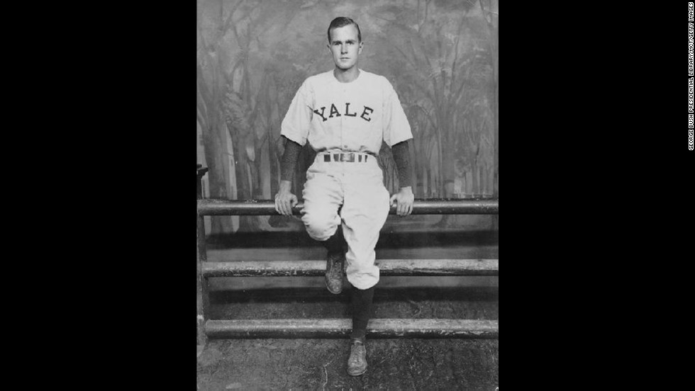 After serving as a US Navy pilot in World War II, Bush attended Yale University and played baseball from 1945 to 1948.