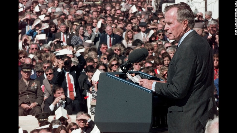 Bush speaks in November 1997 at the dedication of his presidential library at Texas A&M University.