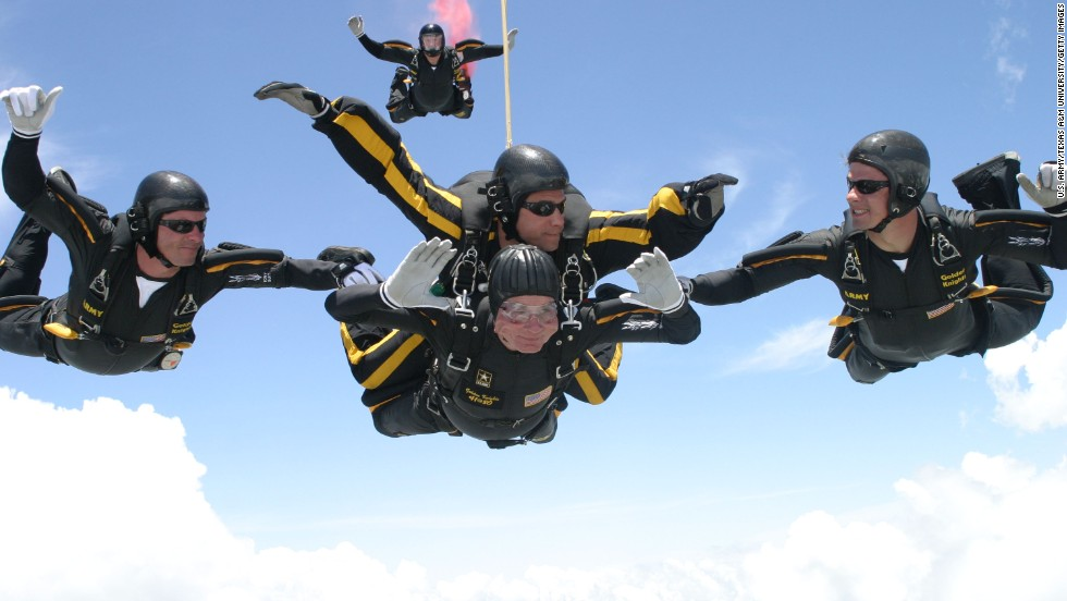 Celebrating his 80th birthday in 2004, Bush performed two jumps with the Army Golden Knights over the Bush Presidential Library.