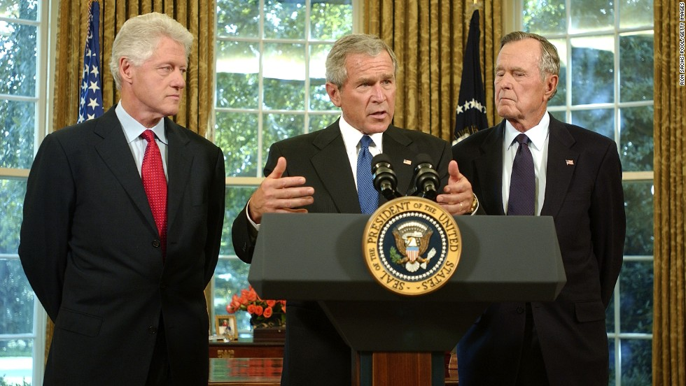 President George W. Bush appointed his father and former President Bill Clinton in September 2005 to lead fund-raising efforts for victims of Hurricane Katrina.