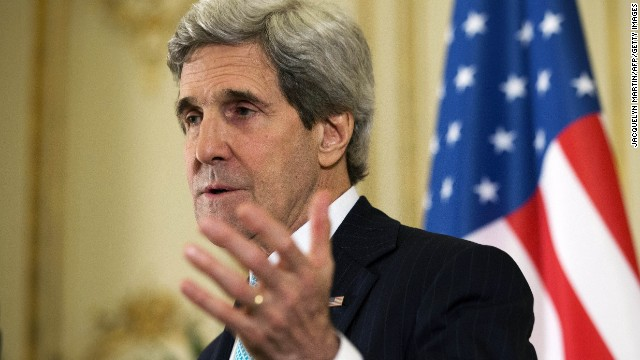 US Secretary of State John Kerry speaks during a news conference at the U.S. Ambassador to France's residence in Paris, on March 30, 2014, following his meeting with Russian Foreign Minister Sergey Lavrov about the situation in Ukraine.