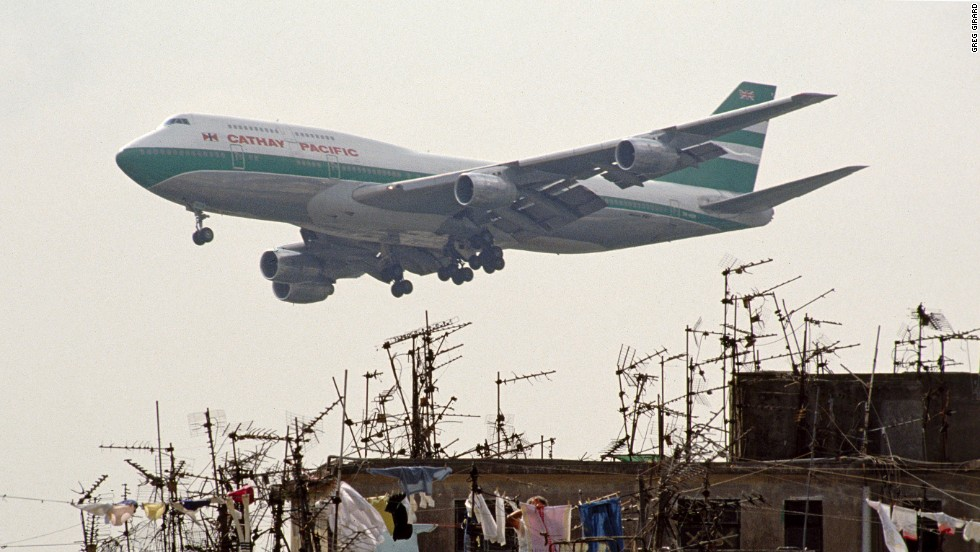 Planes landing at Hong Kong's nearby airport, Kai Tak, often roared overhead.
