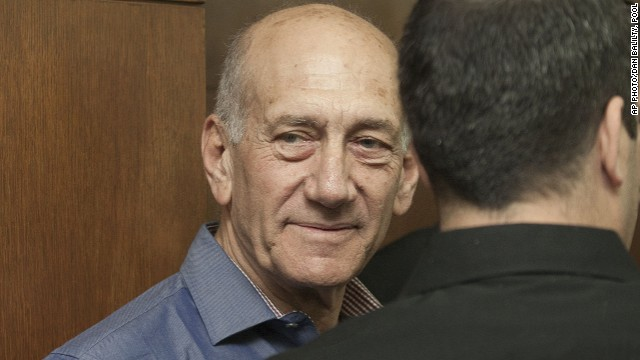 Former Israeli Prime Minister Ehud Olmert attends a hearing at Tel Aviv's District Court on Monday.