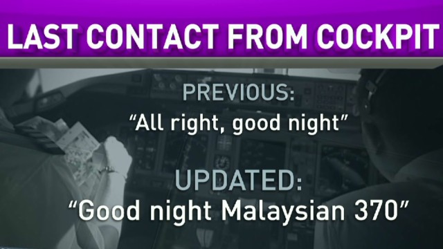 Officials revise last words from MH370