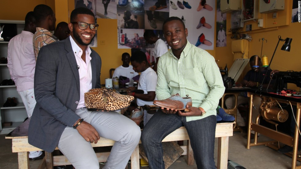 In 2011, Deegbe (left) teamed up with friend Vijay Manu to start a high-end shoemaking company based in Accra, the capital of Ghana.