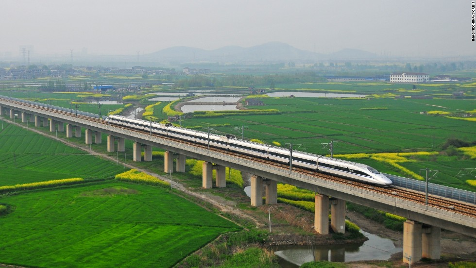 China takes the title for the longest rail bridge with the Danyang--Kunshan Grand Bridge, which connects Shanghai to Nanjing along the Beijing-Shanghai High-Speed Railway.