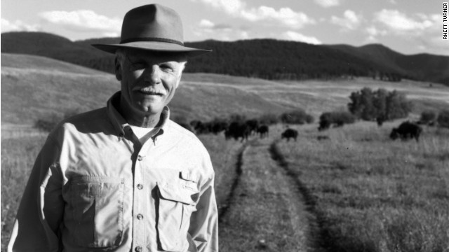 Ted Turner visits his bison herd in Bozeman, Montana.