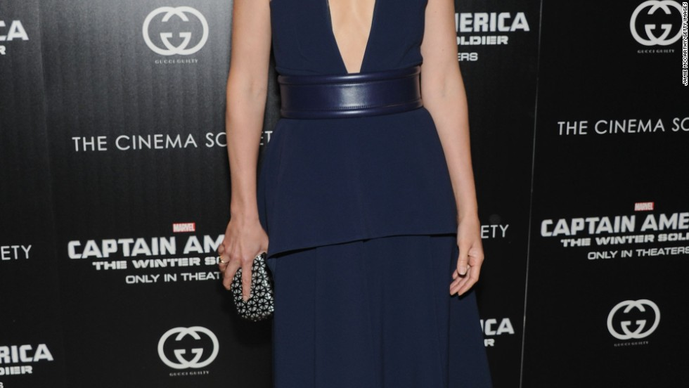 "Cobie Smulders smolders in navy blue at a ""Captain America: The Winter Soldier"" screening on March 31."