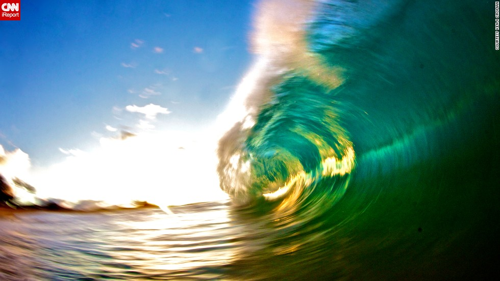 """Croman shot this wave on Sandy Beach in Oahu using a slow shutter speed with a flash. This technique, he says, is very difficult because the photos usually come out blurry. """"But this photo actually made me dedicate the rest of the summer to perfecting this type of style."""""""