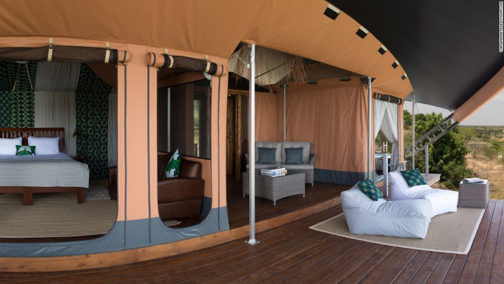 "All 12 ""tents"" at Richard Branson's Mahali Mzuri camp come with canopied verandas replete with roll-top bath tubs and infinity pools."