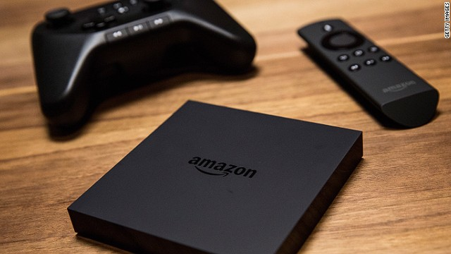 NEW YORK, NY - APRIL 02: The Amazon Fire TV - a new device that allows users to stream video, music, photos, games and more through a television - along with it's remote control and gaming controller, is displayed at a media event on April 2, 2014 in New York City. The unit goes on sale today and costs $99. (Photo by Andrew Burton/Getty Images)