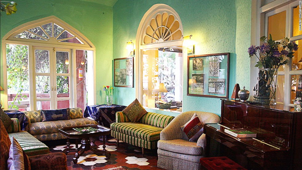 The main lounge at Ranjit's Svaasa, a 200-year-old heritage hotel in Amritsar, is decorated with antique pieces and art from the family's personal collection.