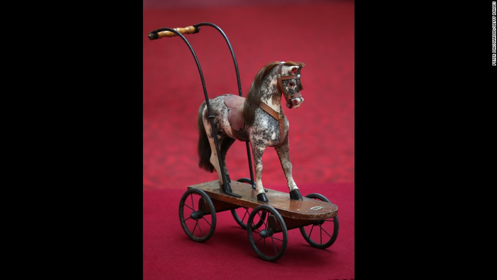 A toy horse on wheels that Princesses Elizabeth and Margaret played with circa the 1930s at Buckingham Palace.