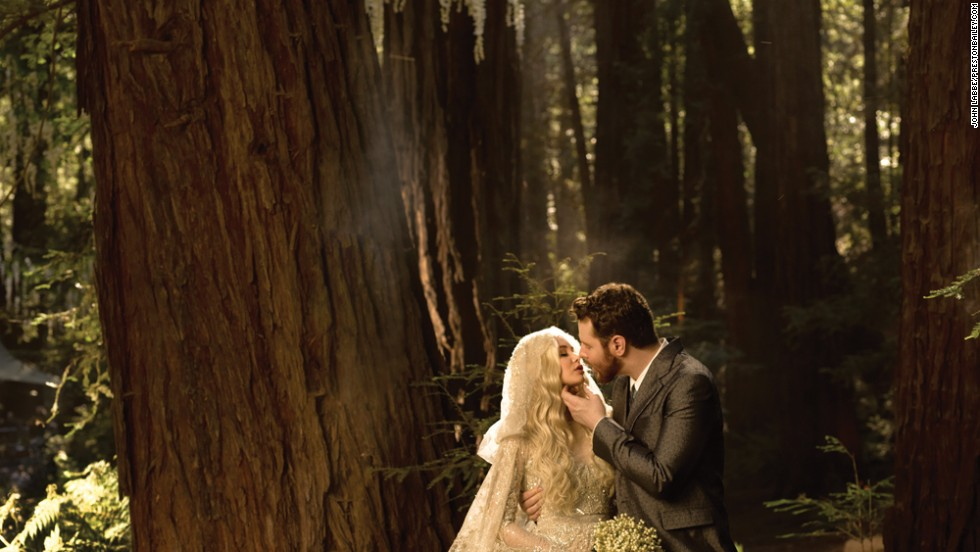 "Facebook's Sean Parker and bride Alexandra Lenas married in 2013 in Big Sur, California, in a Bailey-designed ""fantasy in the forest."""