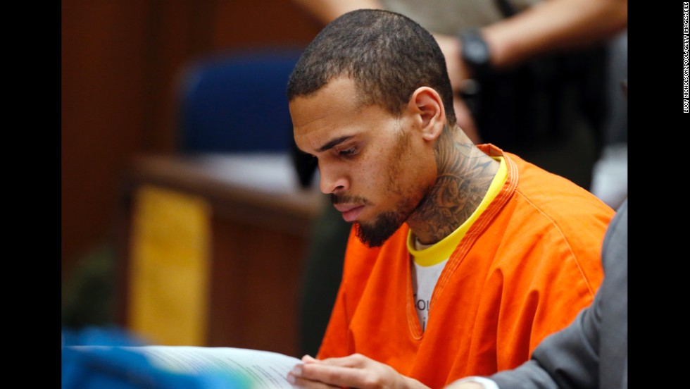 "<strong>March 2014:</strong> <a href=""http://www.cnn.com/2014/03/17/showbiz/chris-brown-jail/index.html"">Brown was jailed on March 14</a> after being booted from the Malibu, California, facility where he had been treated for four months. He was ""cooperative when taken into custody,"" a sheriff's department statement said. A judge ordered him to stay in jail at a hearing three days later, revealing he was kicked out after counselors said he wrote a ""provocative"" statement and violated other rehab rules."