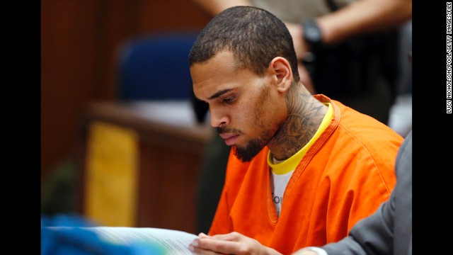 R&B singer Chris Brown appears in court on March 17, 2014, in Los Angeles, California.