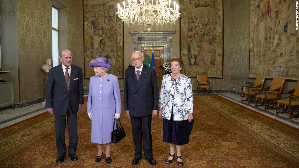 For her visit to Italy, the Queen was accompanied by her husband, Prince Phillip, left. They were greeted by Italian President Giorgio Napolitano and his wife, Clio, at the presidential palace in Rome.