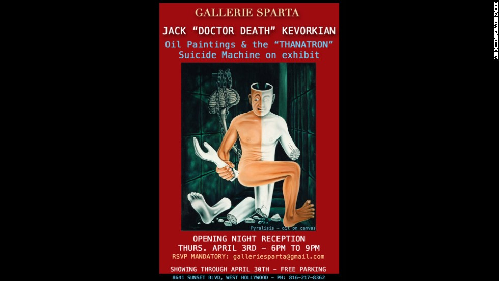 "Euthanasia advocate Dr. Jack Kevorkian -- who died in 2011 -- was also an avid painter. Eleven of his works, as well as his ""Thanatron"" suicide machine, are on display and for sale this month at Gallerie Sparta in Hollywood, California. Here is a look at some of his works:"