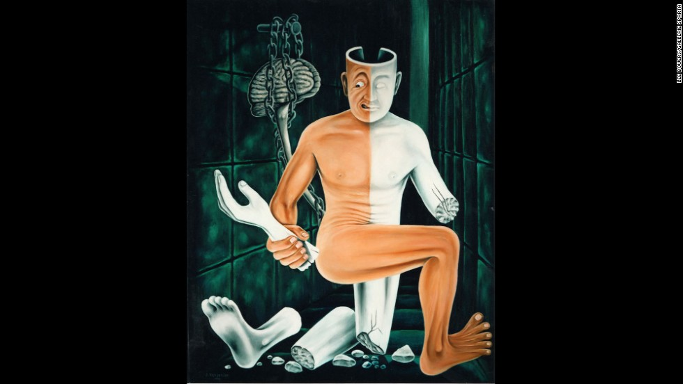 "Kevorkian was known as ""Dr. Death"" for helping suffering patients die and pushing for this practice to be legalized.  His artwork represents his fascination with the intersection between physical and spiritual suffering, like this piece titled ""Paralysis."""