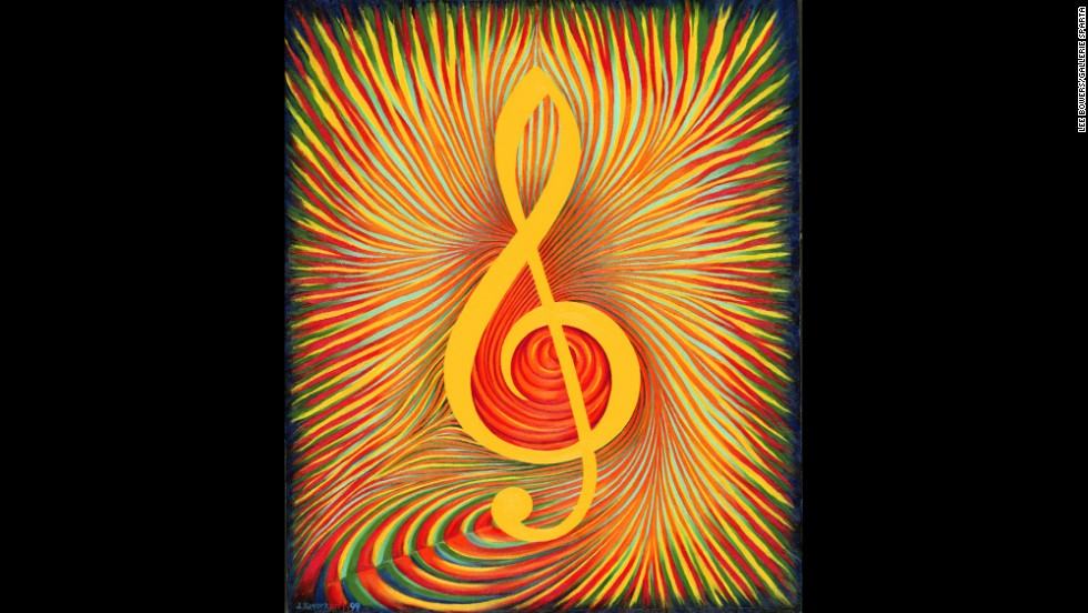 "This 1999 painting of a treble clef, called ""Chromatic Fantasy,"" is displayed with the Bach portrait and ""Fugue,"" which displays a treble clef."