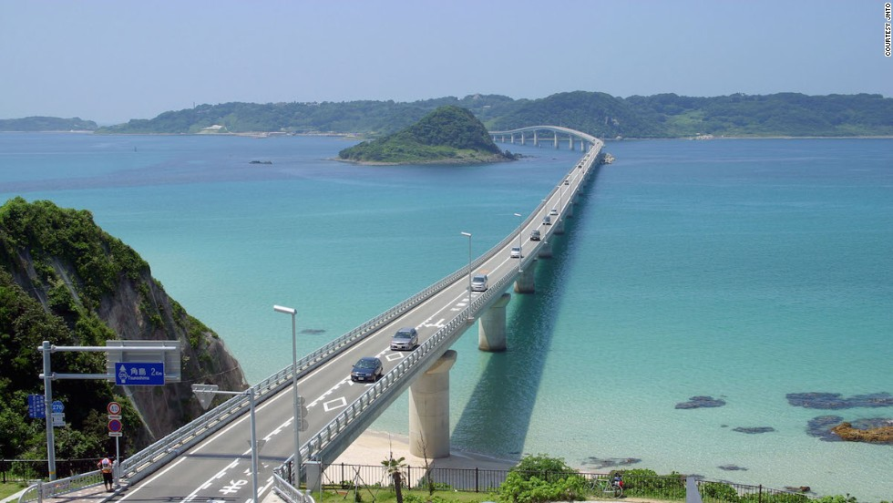 Japan's 1,780-meter-long Tsunoshima Bridge connects the island of Tsunoshima (part of Shimonoseki city) with  Honshu.