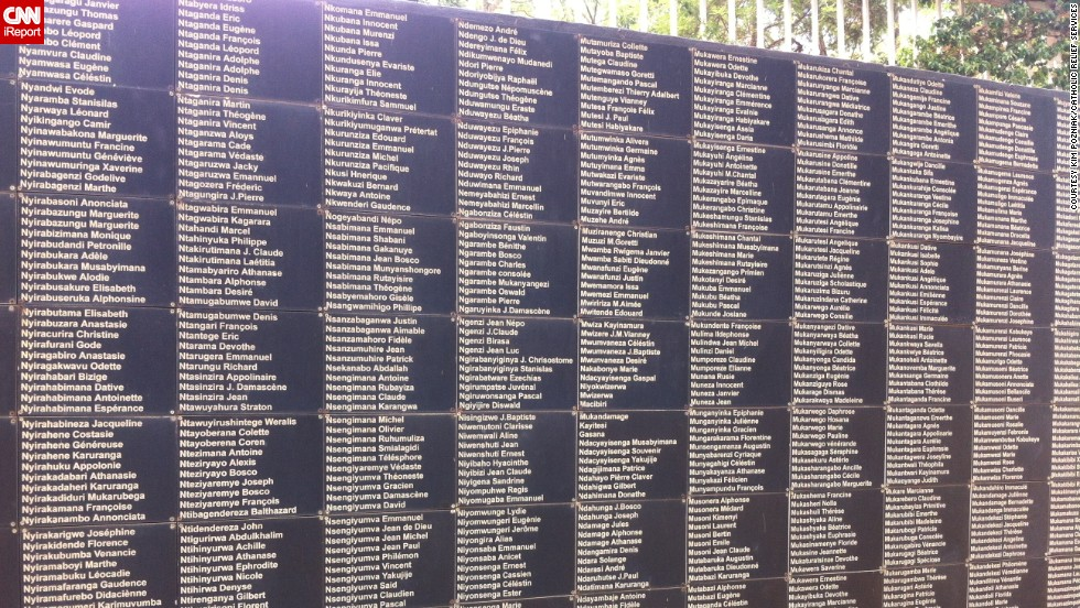 """Historians have recorded only some of the names of the people lost in the 100 days of violence in 1994 that killed nearly 1 million people. This wall at the <a href=""""http://www.kigaligenocidememorial.org/old/centre/gardens/wallofnames.html"""" target=""""_blank"""">Kigali Genocide Memorial</a> in the country's capital is an on-going project."""
