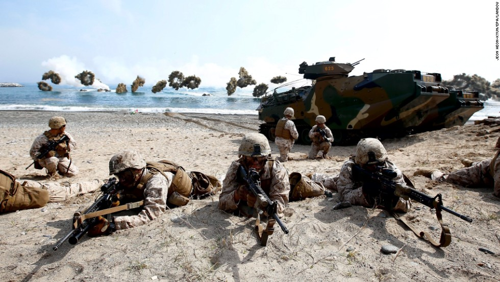 Marines from the United States and South Korea participate in a joint training exercise in Pohang, South Korea, on Monday, March 31.
