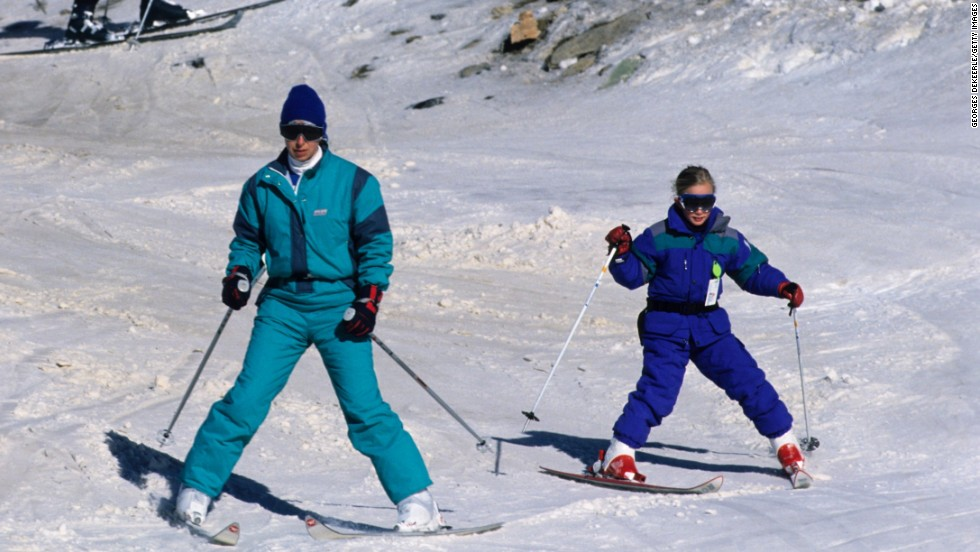 Princess Anne and her daughter, Zara, ski in Morzine in January 1989.