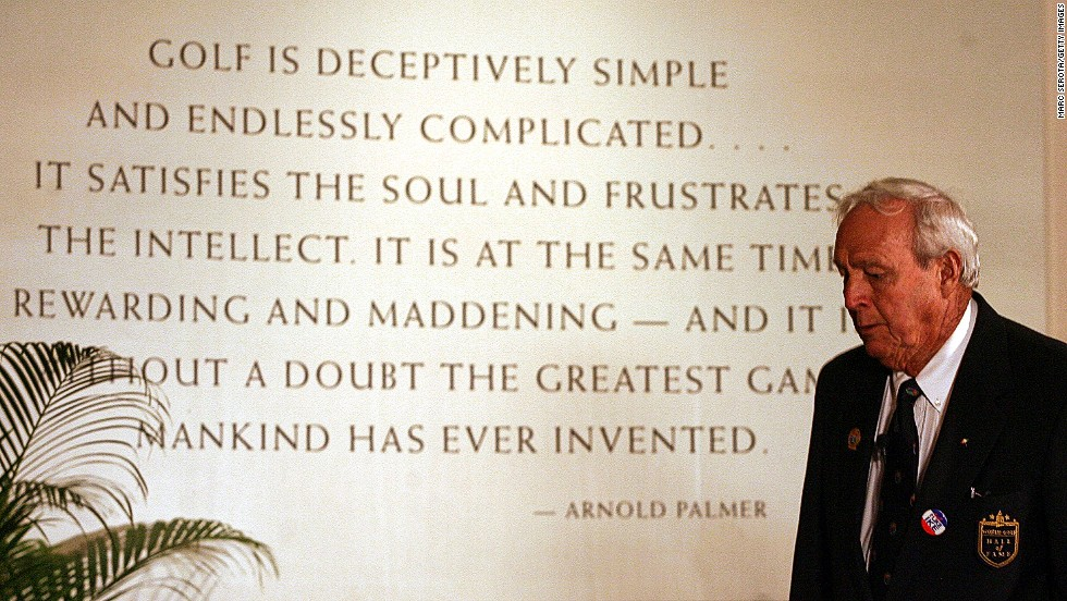 Arnold Palmer at golf's Hall of Fame, where he was inducted in 1974 after a glittering career.