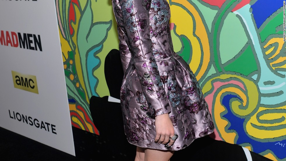 """Mad Men's"" Kiernan Shipka shows off her funky dress at the April 2 premiere of the series' seventh season."