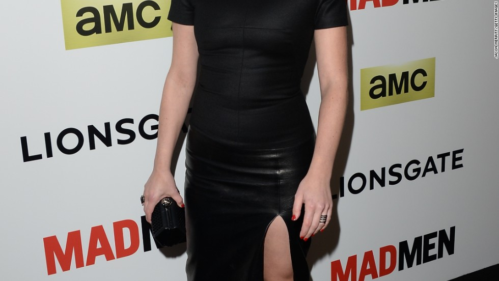 "Elisabeth Moss trades in '60s costumes for a more futuristic vibe at the season 7 premiere of ""Mad Men"" on April 2."