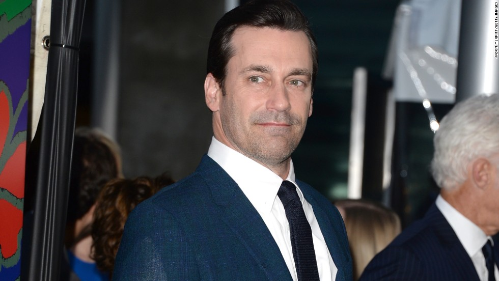 "Jon Hamm arrives at his second-to-last ""Mad Men"" premiere on April 2."