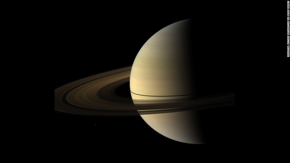 Saturn's rings cast a narrow shadow on its surface in this image taken in August 2009.